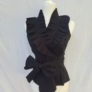 Adrianna Papell black ruffle top size 6